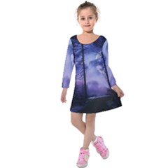 Moonlit A Forest At Night With A Full Moon Kids  Long Sleeve Velvet Dress