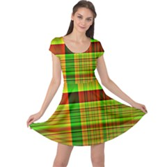 Multicoloured Background Pattern Cap Sleeve Dresses