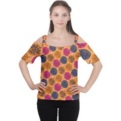 Colorful Trees Background Pattern Women s Cutout Shoulder Tee