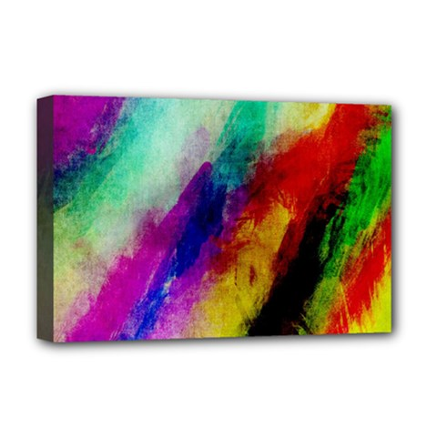 Colorful Abstract Paint Splats Background Deluxe Canvas 18  X 12   by Simbadda