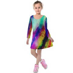 Colorful Abstract Paint Splats Background Kids  Long Sleeve Velvet Dress by Simbadda