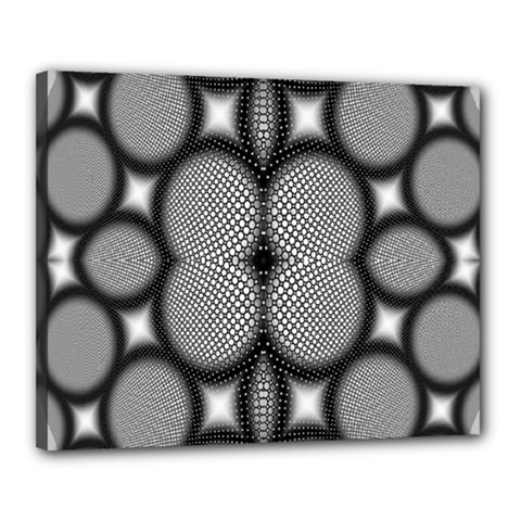 Mirror Of Black And White Fractal Texture Canvas 20  X 16  by Simbadda