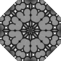 Mirror Of Black And White Fractal Texture Hook Handle Umbrellas (medium) by Simbadda