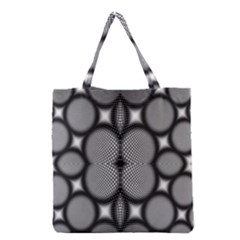 Mirror Of Black And White Fractal Texture Grocery Tote Bag by Simbadda