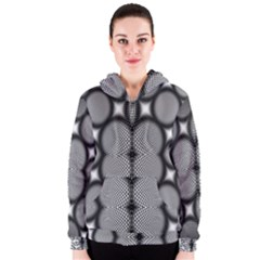 Mirror Of Black And White Fractal Texture Women s Zipper Hoodie by Simbadda