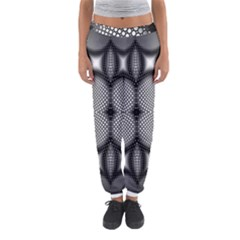 Mirror Of Black And White Fractal Texture Women s Jogger Sweatpants by Simbadda