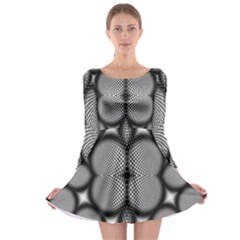 Mirror Of Black And White Fractal Texture Long Sleeve Skater Dress