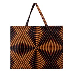 Fractal Pattern Of Fire Color Zipper Large Tote Bag by Simbadda