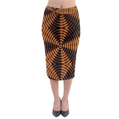 Fractal Pattern Of Fire Color Midi Pencil Skirt
