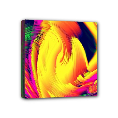 Stormy Yellow Wave Abstract Paintwork Mini Canvas 4  X 4  by Simbadda