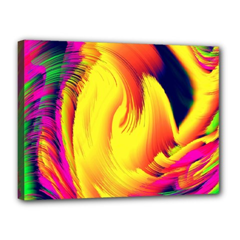 Stormy Yellow Wave Abstract Paintwork Canvas 16  X 12  by Simbadda