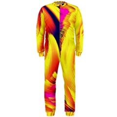 Stormy Yellow Wave Abstract Paintwork Onepiece Jumpsuit (men)