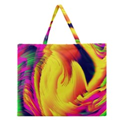 Stormy Yellow Wave Abstract Paintwork Zipper Large Tote Bag by Simbadda