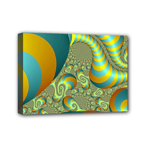 Gold Blue Fractal Worms Background Mini Canvas 7  X 5  by Simbadda