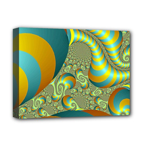 Gold Blue Fractal Worms Background Deluxe Canvas 16  X 12   by Simbadda