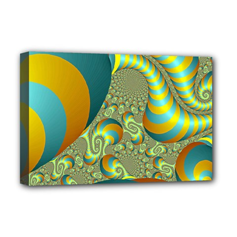 Gold Blue Fractal Worms Background Deluxe Canvas 18  X 12   by Simbadda