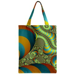 Gold Blue Fractal Worms Background Zipper Classic Tote Bag by Simbadda