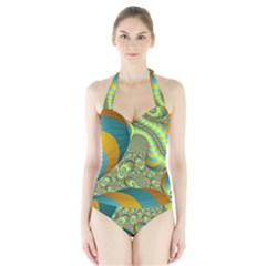 Gold Blue Fractal Worms Background Halter Swimsuit