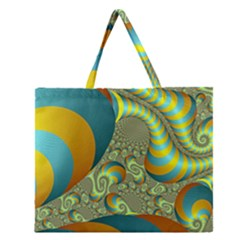 Gold Blue Fractal Worms Background Zipper Large Tote Bag by Simbadda