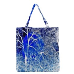 Winter Blue Moon Fractal Forest Background Grocery Tote Bag by Simbadda
