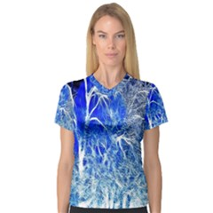 Winter Blue Moon Fractal Forest Background Women s V Neck Sport Mesh Tee by Simbadda