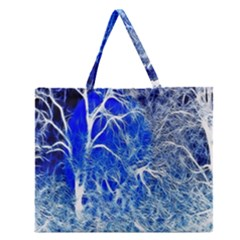 Winter Blue Moon Fractal Forest Background Zipper Large Tote Bag by Simbadda