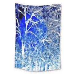 Winter Blue Moon Fractal Forest Background Large Tapestry by Simbadda