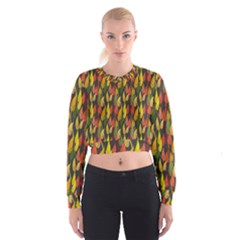 Colorful Leaves Yellow Red Green Grey Rainbow Leaf Women s Cropped Sweatshirt