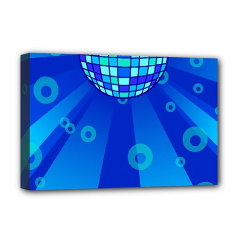 Disco Ball Retina Blue Circle Light Deluxe Canvas 18  X 12   by Alisyart