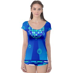 Disco Ball Retina Blue Circle Light Boyleg Leotard  by Alisyart