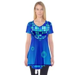 Disco Ball Retina Blue Circle Light Short Sleeve Tunic  by Alisyart