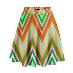 Chevron Wave Color Rainbow Triangle Waves High Waist Skirt by Alisyart