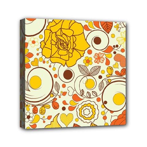 Cute Fall Flower Rose Leaf Star Sunflower Orange Mini Canvas 6  X 6  by Alisyart