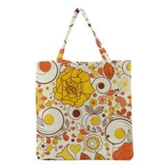 Cute Fall Flower Rose Leaf Star Sunflower Orange Grocery Tote Bag by Alisyart