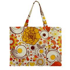 Cute Fall Flower Rose Leaf Star Sunflower Orange Zipper Mini Tote Bag by Alisyart