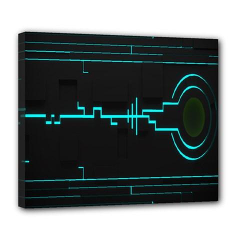 Blue Aqua Digital Art Circuitry Gray Black Artwork Abstract Geometry Deluxe Canvas 24  X 20   by Simbadda