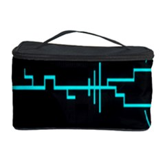 Blue Aqua Digital Art Circuitry Gray Black Artwork Abstract Geometry Cosmetic Storage Case by Simbadda