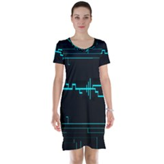 Blue Aqua Digital Art Circuitry Gray Black Artwork Abstract Geometry Short Sleeve Nightdress