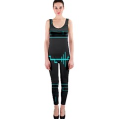 Blue Aqua Digital Art Circuitry Gray Black Artwork Abstract Geometry Onepiece Catsuit by Simbadda