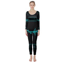 Blue Aqua Digital Art Circuitry Gray Black Artwork Abstract Geometry Long Sleeve Catsuit