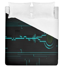 Blue Aqua Digital Art Circuitry Gray Black Artwork Abstract Geometry Duvet Cover (queen Size) by Simbadda