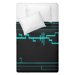 Blue Aqua Digital Art Circuitry Gray Black Artwork Abstract Geometry Duvet Cover Double Side (single Size) by Simbadda