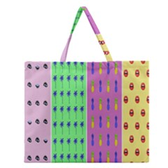 Eye Coconut Palms Lips Pineapple Pink Green Red Yellow Zipper Large Tote Bag by Alisyart