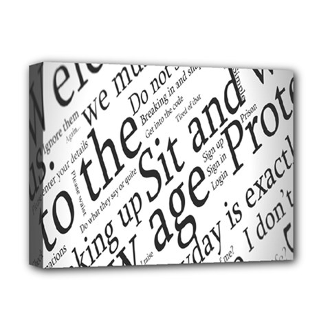Abstract Minimalistic Text Typography Grayscale Focused Into Newspaper Deluxe Canvas 16  X 12   by Simbadda