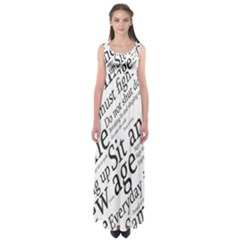 Abstract Minimalistic Text Typography Grayscale Focused Into Newspaper Empire Waist Maxi Dress