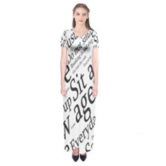 Abstract Minimalistic Text Typography Grayscale Focused Into Newspaper Short Sleeve Maxi Dress by Simbadda