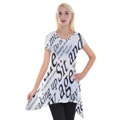 Abstract Minimalistic Text Typography Grayscale Focused Into Newspaper Short Sleeve Side Drop Tunic by Simbadda