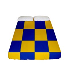 Flag Plaid Blue Yellow Fitted Sheet (full/ Double Size) by Alisyart