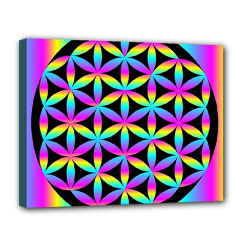 Flower Of Life Gradient Fill Black Circle Plain Canvas 14  X 11  by Simbadda