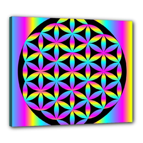 Flower Of Life Gradient Fill Black Circle Plain Canvas 24  X 20  by Simbadda